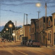 <b>Street at Dusk</b><br>oil on canvas<br>16 x 16 inches