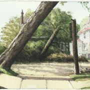 <b>1642 Vernon Street, Day 4</b><br/>2003<br/>Watercolour, pen & pencil on paper<br/>7.5 x 15 inches