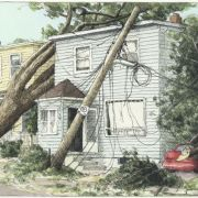 <b>6139 and 6141 Linden Street, Day 4</b><br/>2003<br/>Watercolour, pen & pencil on paper<br/>7.5 x 15 inches