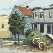 <b>Duncan Street, Day 16</b><br/>2003<br/>Watercolour, pen & pencil on paper<br/>7.5 x 15 inches