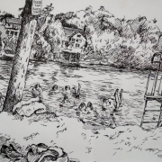 <b>Chocolate Lake</b><br/>1994<br/>Pen & pencil on paper<br/>8 x 11 inches