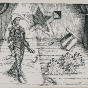 <b>Harlequin on Stage</b><br/>1994<br/>Pen & pencil on paper<br/>8.5 x 11 inches