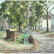 <b>Duncan and Harvard, Day 11</b><br/>2003<br/>Watercolour, pen & pencil on paper<br/>7.5 x 15 inches