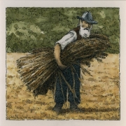 <b>Flax Farmer</b><br/>2016<br/>Watercolour, pen & pencil on paper<br/>5.5 x 5.5 inches