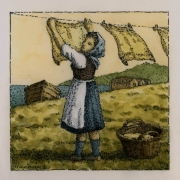 <b>Laundress by the Sea</b><br/>2016<br/>Watercolour, pen & pencil on paper<br/>5.5 x 5.5 inches