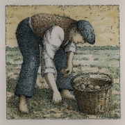 <b>Potato Farmer</b><br/>2016<br/>Watercolour, pen & pencil on paper<br/>5.5 x 5.5 inches