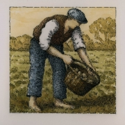 <b>Potato Farmer With Basket</b><br/>2016<br/>Watercolour, pen & pencil on paper<br/>5.5 x 5.5 inches