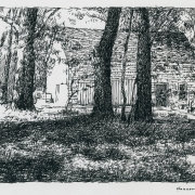 <b>Barn in Spring</b><br/>1999<br/>Pen & pencil on paper<br/>8 x 10 inches