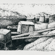 <b>Seaside With Sheds</b><br/>2000<br/>Pen & pencil on paper<br/>8 x 10 inches