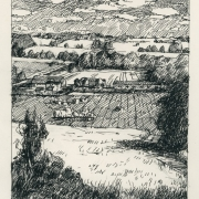 <b>Farm With Fields</b><br/>2001<br/>Pen & pencil on paper<br/>11 x 8.5 inches