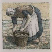 <b>Woman Picking Potatoes</b><br/>2016<br/>Watercolour, pen & pencil on paper<br/>5.5 x 5.5 inches