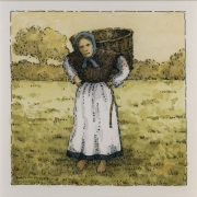 <b>Woman With Basket</b><br/>2015<br/>Watercolour, pen & pencil on paper<br/>5.5 x 5.5 inches