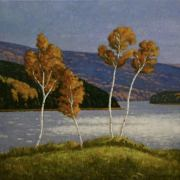<b>The Margaree</b><br/>2018<br/>Oil on Canvas<br/>16x 16 inches
