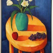 <b>Still Life With Yellow Table</b><br/>1996<br/>Oil on Canvas<br/>32 x 24 inches