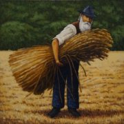 <b>The Flax Farmer</b><br/>2017<br/>Oil on Canvas<br/>16 x 16 inches