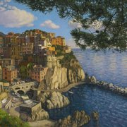 <b>Manarola, Cinque Terre</b><br/>2013<br/>oil on canvas<br/>24 x 48 inches
