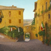 /b><br/>2012<br/>oil on canvas<br/>25 x 40 inches<b>Pienza Morning</b>