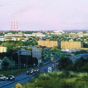 <b>Commuters</b><br>1998<br>oil on canvas<br>16 x 36 inches