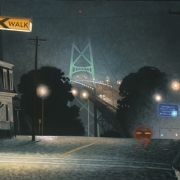 <b>Bridge in Wet Fog</b><br>2003<br>oil on canvas<br>24 x 36 inches