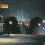<b>Bridge in Wet Fog</b><br>2003<br>oil on canvas<br>24 x 36 inches
