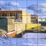 <b>54 Postcards of Gottingen Street</b><br>2010<br>oil on 54 small plywood sections<br>18 x 36 inches