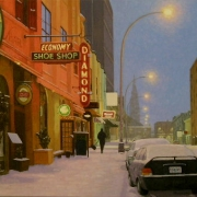 <b>Light Snow on Argyle Street</b><br>2010<br>oil on canvas<br>24 x 38 inches