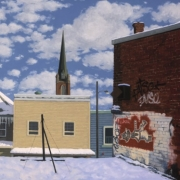 <b>Metro Garden Roof</b><br>2003<br>oil on canvas<br>32 x 60 inches