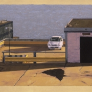 <b>Rooftop Parking Garage</b><br>2003<br>oil on canvas<br>22.5 x 40 inches