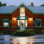 <b>Motel Office at Night</b><br>2010<br>oil on canvas<br>24 x 36 inches