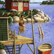 <b>Swimming at the Point</b><br>2004<br>oil on canvas<br>25 x 40 inches