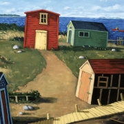 <b>Rearranging the Fishing Shacks</b><br>1996<br>oil on canvas<br>28 x 40 inches