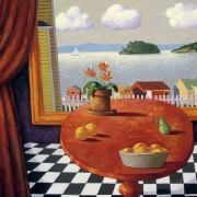 <b>Still Life with Interior</b><br>1999<br>oil on canvas<br>36 x 48 inches