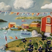 <b>Coastline With Flags</b><br>1999<br>oil on canvas<br>24 x 30 inches