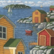 <b>Bay With Yellow House</b><br>2005<br>oil on canvas<br>24 x 12 inches