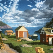 <b>Bay With Three Ladders</b><br>2002<br>oil on canvas<br>30 x 40 inches