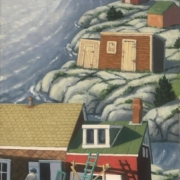 <b>Cape Breton Shore</b><br>2005<br>oil on canvas<br>24 x 12 inches