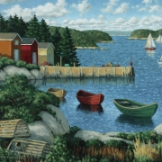 <b>Cove With Three Boats 1</b><br>2004<br>oil on canvas<br>20 x 24 inches