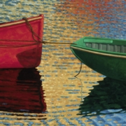 <b>Two Boats</b><br>2004<br>oil on canvas<br>20 x 60 inches