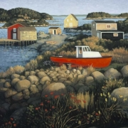 <b>Red Boat on Shore</b><br>2004<br>oil on canvas<br>30 x 24 inches