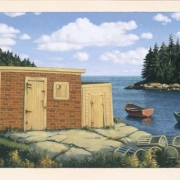 <b>Cove With Three Boats 2</b><br>2004<br>oil on canvas<br>21.5 x 43 inches