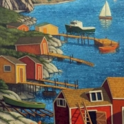 <b>Landing in Cape Breton</b><br>2008<br>oil on canvas<br>48 x 24 inches