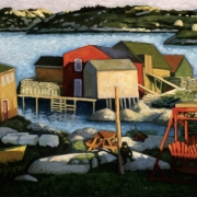 <b>Late Afternoon West Dover</b><br>1999<br>oil on canvas<br>24 x 48 inhces