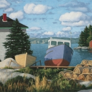 <b>Two Boats on Shore</b><br>2004<br>oil on canvas<br>20 x 40 inches