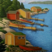<b>Sheds Along the Point</b><br>2008<br>oil on canvas<br>40 x 30 inches