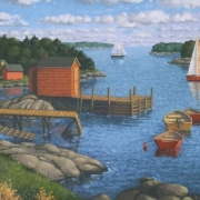 <b>Bay in Late Afternoon</b><br>2005<br>oil on canvas<br>21 x 32 inhces