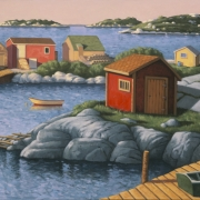 <b>Sheds at Blue Rocks</b><br>2003<br>oil on canvas<br>30 x 40 inches