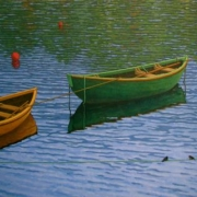 <b>Three Boats Number 2</b><br>2010<br>oil on canvas<br>30 x 60 inches