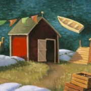 <b>Three Shacks</b><br>2000<br>oil on canvas<br>12 x 24 inches