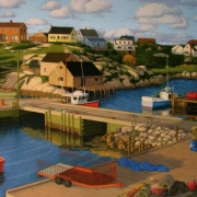 <b>Early Evening Peggy's Cove</b><br>2010<br>oil on canvas<br>24 x 48 inches