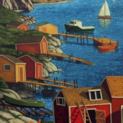 <b>Landing in Cape Breton</b><br>2009<br>oil on canvas<br>48 x 24 inches
